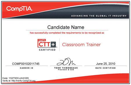 comptia ctt+认证