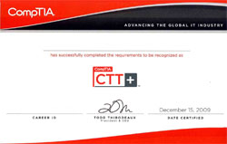 CompTIA CTT+证书